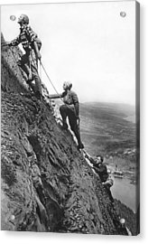 Mountain Climbing In Glacier Acrylic Print by Underwood Archives