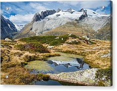 Mountain Landscape Water Reflection Swiss Alps Acrylic Print by Matthias Hauser
