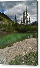 Mountain Scene Near A Small Pond In Kananaskis Country Alberta Canada Acrylic Print by Michael Mckinney