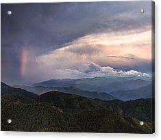 Mountain Storm And Rainbow Acrylic Print by Leland D Howard