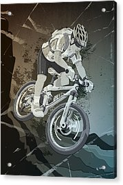 Mountainbike Sports Action Grunge Monochrome Acrylic Print by Frank Ramspott