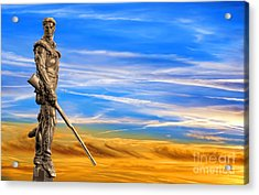 Mountaineer Statue With Blue Gold Sky Acrylic Print by Dan Friend