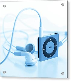 Mp3 Player And Earphones Acrylic Print by Science Photo Library