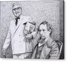 Mr Chicken And Mr Dickens Acrylic Print by James W Johnson