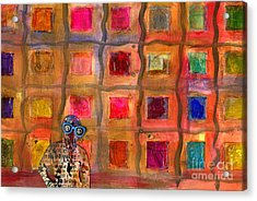 Ms Cool Goes Window Watching In Color Acrylic Print by Angela L Walker