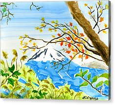Snow Scenes In Watercolors Acrylic Print featuring the painting Mt Fuji From Koyodai In Autumn by Beverly Claire Kaiya