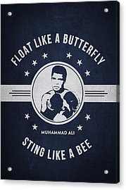 Muhammad Ali - Navy Blue Acrylic Print by Aged Pixel