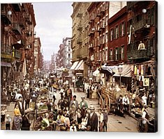 Mulberry Street, New York, Circa 1900 Acrylic Print by Science Photo Library
