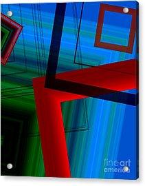 Multicolor Geometric Shapes In Digital Art Acrylic Print by Mario Perez