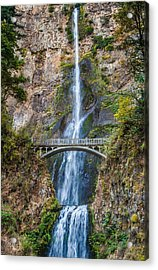 Multnomah Falls - Waterfall Photograph Acrylic Print by Duane Miller