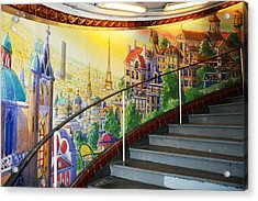 Mural In The Paris Metro Acrylic Print by Kathy Yates