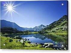 Muratov Lake Against Blue Sky Acrylic Print by Evgeny Kuklev