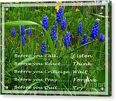 Muscari And Poem Acrylic Print by Barbara Griffin
