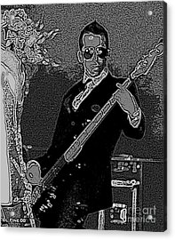 Bass Player Art Bw Acrylic Print by Lesa Fine