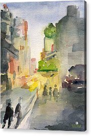 Music Box Theater Times Square Watercolor Painting Of New York Acrylic Print by Beverly Brown Prints