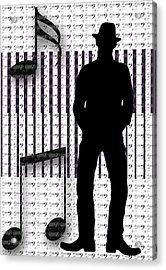 Musical Man Silhouette Acrylic Print by Susan Leggett