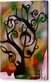 Musical Tree Golden Acrylic Print by Tony B Conscious