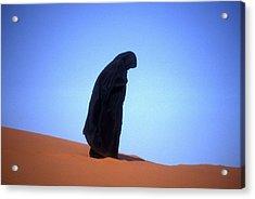 Muslim Woman Praying On A Sand Dune Photo Acrylic Print by .