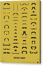 Mustache Library Poster Acrylic Print by Naxart Studio