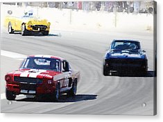 Mustang And Corvette Racing Watercolor Acrylic Print by Naxart Studio