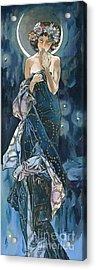 My Acrylic Painting As An Interpretation Of The Famous Artwork Of Alphonse Mucha - Moon - Acrylic Print by Elena Yakubovich