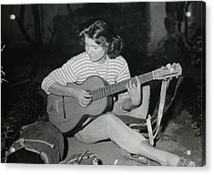 My Beloved Mum Chris On World Travels In The Fifties With Guitar Gitana And Pappa Hans  Acrylic Print by Colette V Hera  Guggenheim