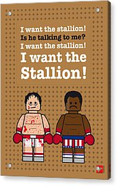 My Rocky Lego Dialogue Poster Acrylic Print by Chungkong Art