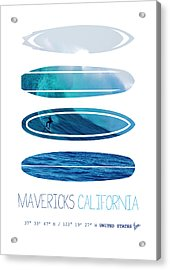 My Surfspots Poster-2-mavericks-california Acrylic Print by Chungkong Art