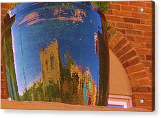 My Town Reflected In A Blue Pot Acrylic Print by Feva  Fotos