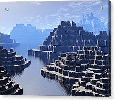 Mysterious Terraced Mountains Acrylic Print by Phil Perkins