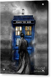 Mysterious Time Traveller With Black Jacket Acrylic Print by Three Second