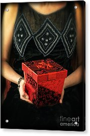 Mysterious Woman With Red Box Acrylic Print by Edward Fielding