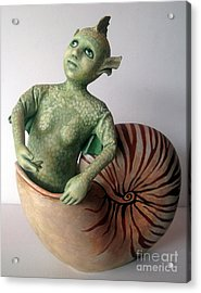 Mystery Of The Nautilus - Figurative Sculpture Acrylic Print by Linda Apple