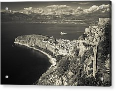 Nafplio Peninsula Sepia Acrylic Print by David Waldo