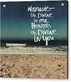Namaste Waves  Acrylic Print by Linda Woods