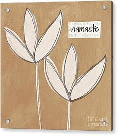 Namaste White Flowers Acrylic Print by Linda Woods