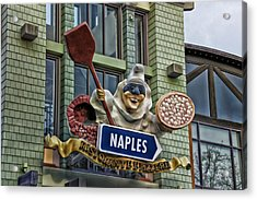 Naples Pizzeria Signage Downtown Disneyland Acrylic Print by Thomas Woolworth