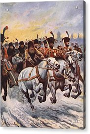 Napoleon At The Retreat From Moscow Acrylic Print by Stanley L. Wood