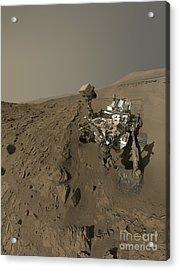 Nasas Curiosity Mars Rover On Planet Acrylic Print by Stocktrek Images