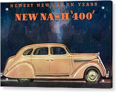 Nash 400 - Vintage Car Poster Acrylic Print by World Art Prints And Designs