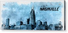 Nashville Tennessee In Blue Acrylic Print by Dan Sproul
