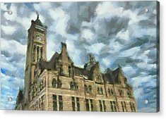Nashville's Union Station Painted Acrylic Print by Dan Sproul