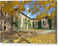 Nassau Hall With Fall Foliage Acrylic Print by George Oze