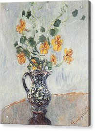 Nasturtiums In A Blue Vase Acrylic Print by Claude Monet