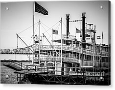 Natchez Steamboat In New Orleans Black And White Picture Acrylic Print by Paul Velgos