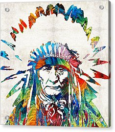 Native American Art - Chief - By Sharon Cummings Acrylic Print by Sharon Cummings