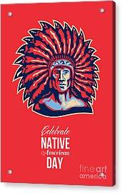 Native American Day Celebration Retro Poster Card Acrylic Print by Aloysius Patrimonio