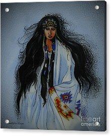 Native American Girl Acrylic Print by Betta Artusi