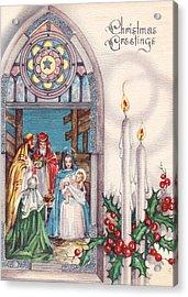 Nativity And Candles Acrylic Print by Munir Alawi
