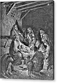 Nativity Bible Illustration Engraving Acrylic Print by